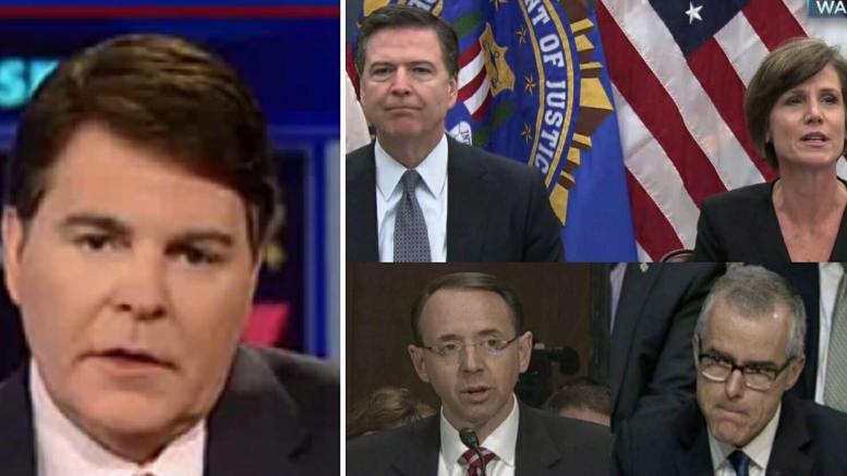 Gregg Jarrett, Attorney for Fox News reveals the USC law that Comey, McCabe, Rosenstein and Yates broke. And how much time they would get if found guilty. Photo credit to screen captures by Dagger News.