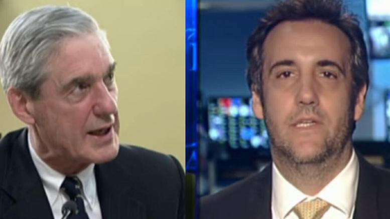 Cohen lawyer's file against Mueller operation over handling of documents. Photo enhancement credit to US4Trump with MSNBC & Fox Screen Captures.