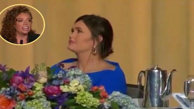 Sarah Sanders receives a kind assessment of her graciousness under fire from a colleague who attended the dinner. Image Source: Video Screen Shots. USA 4 Trump Compilation