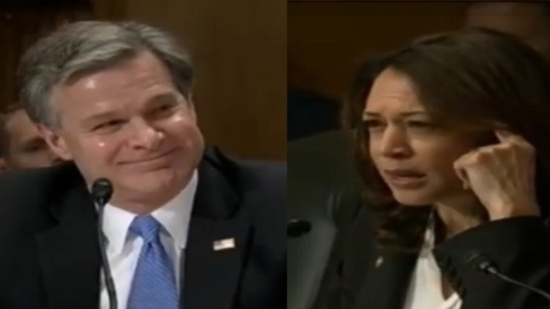 Wray stops Harris on inappropriate attack on Kavanaugh during Homeland Security hearing. Photo credit to US4Trump compilation with screen shots.