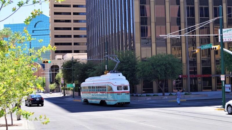 Straßenbahn in El Paso, der abgelegenen Stadt von Texas