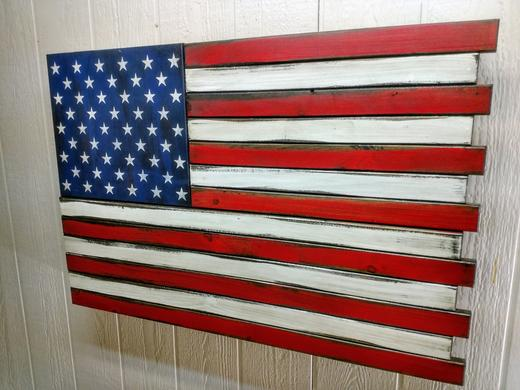 American Flag gun safe, artwork and a concealed gun