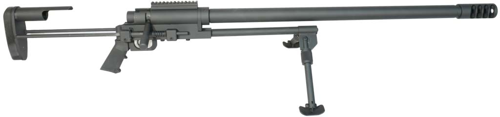 Noreen Firearms .50 BMG ULR 153-SB For Sale - A heavy barrel and spring loaded brace.