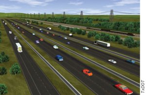An artist's rendering of the planned Trans-Texas Corridor, with a separate lane for every mode. ##http://www.fhwa.dot.gov/publications/publicroads/05jul/07.cfm##FHWA##
