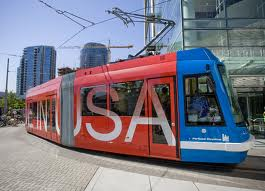 This streetcar was Made in the USA. Could the USA make more? ##http://www.oregonlive.com/business/index.ssf/2009/07/transportation_secretary_watch.html##Doug Beghtel/The Oregonian##