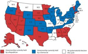 The current governor map, before yesterday's winners are seated.