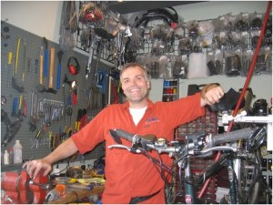 Wake Gregg in his ebike shop. Photo by the authors.