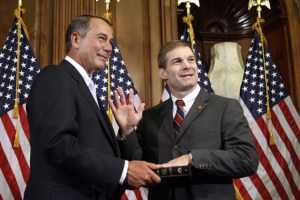 Jim Jordan, R-Ohio, is sworn in by House Speaker John Boehner Jan. 5, 2011. Jordan is sponsoring the Spending Reduction Act. Photo: ##http://www.investors.com/NewsAndAnalysis/Article/560463/201101201926/Slash-10-Year-Spending-By-25-Trillion-Conservative-GOP-Lawmakers-Propose-.htm##AP##