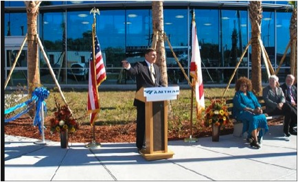 Mica speaks at the ribbon cutting ceremony for the Auto Train terminal in Sanford. Photo courtesy of ##http://mica.house.gov/Photos/#id=136716&num=12##John Mica's office##.