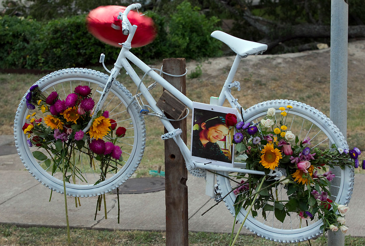 A new bill could mean fewer ghost bikes. Photo: ##http://photoblog.statesman.com/a-ghost-bike-and-a-memorial-bike-ride-for-andrew-runciman-hit-and-run-victim##Collective Vision##