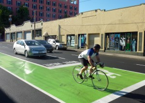Bike boxes may soon be updated to officially recognized guidance in engineering manuals. Image: ##http://otrec.us/project/423## Otrec##