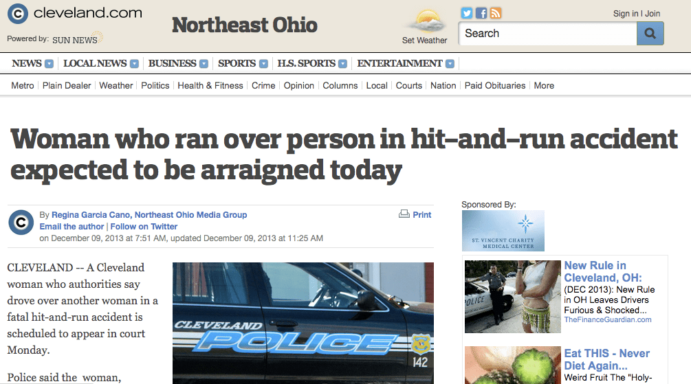 """The Cleveland Plain Dealer uses the term """"accident"""" to describe a collision that led to vehicular homicide charges. The Associated Press' editors have cautioned against using this term, but haven't made it part of the organization's all-important Style Guide for journalists. Image: ##http://www.cleveland.com/metro/index.ssf/2013/12/woman_who_ran_over_person_in_h.html## Cleveland.com##"""