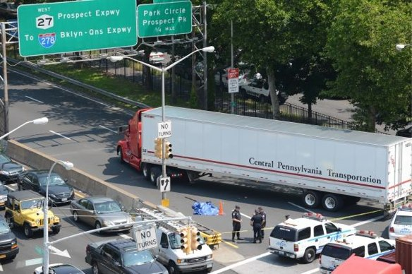 This freight truck killed 73-year-old pedestrian Ngozi Agbim in Brooklyn this June. Photo: Daily News via ##http://www.streetsblog.org/2013/06/25/ngozi-agbim-73-killed-by-truck-driver-at-crash-prone-brooklyn-intersection/##Streetsblog NYC##