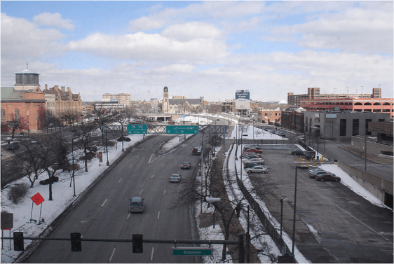 Detroit's I-375 was an urban renewal project that permanently reduced the quality of urban life in the Motor City. Image: CNU