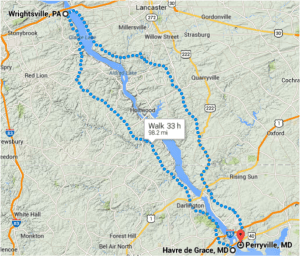 Want to walk across the Susquehanna River between Havre de Grace and Perryville, Maryland? That one-mile car trip will take you nearly 100 miles and 33 hours to walk. Image: Google Maps