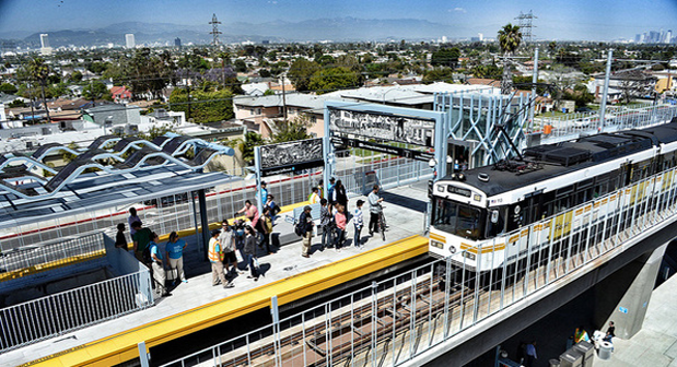 On the first week the first phase opened, Reason concluded Los Angeles' Expo Line ridership projections were greatly exaggerated. One year later, the line had already surpassed projections for 2020. Photo: Buildexpo.org