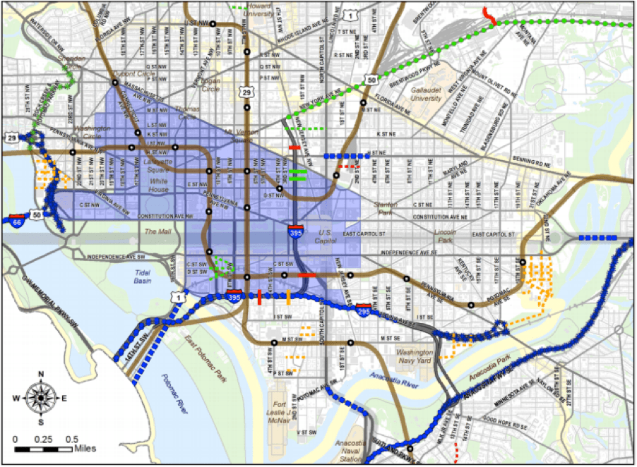 The blue shaded area would be the part of the city affected by the congestion charge. Image: DDOT