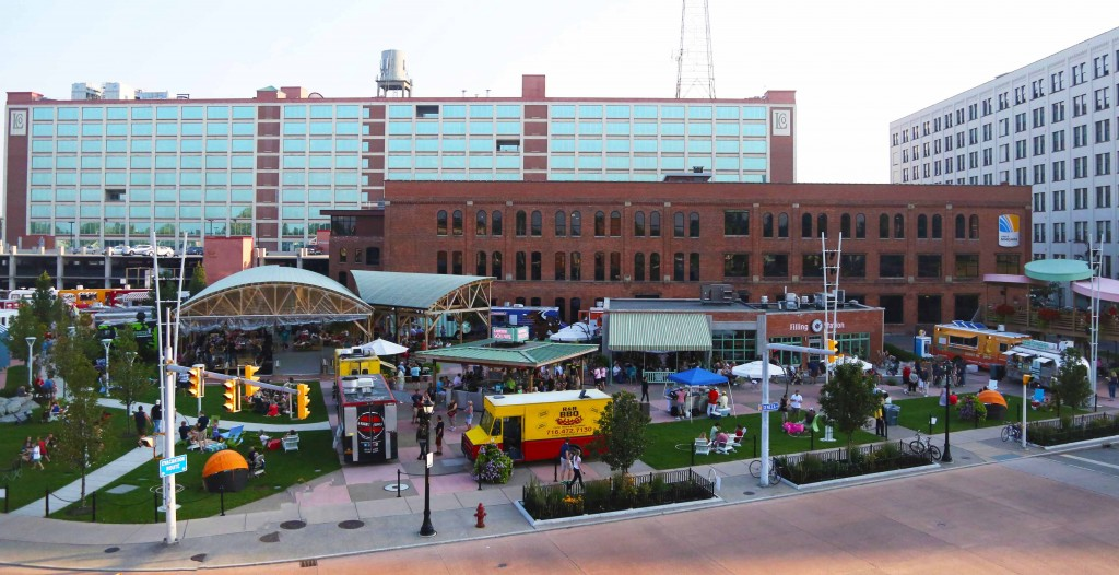 Larkin Square's Food Truck Tuesdays are one example of Buffalo's recent successes in revitalizing its urban core. Photo: ##http://www.larkinsquare.com/##Larkin Square##