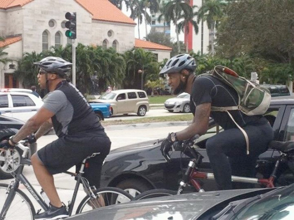 Lebron James often commuted to practice and games in Miami. Photo: JackNruth on Twitter
