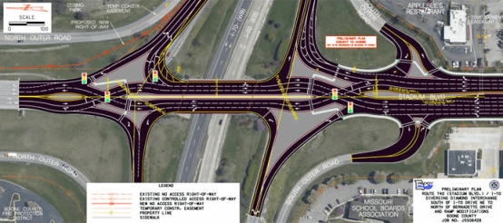Amendment 7 would have helped pay for road expansions like this diverging diamond on Stadium Boulevard. Image: ##http://www.modot.org/central/major_projects/Boone740_PublicHearingMay2011.htm##MoDOT##