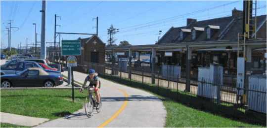 Despite high train frequency, southeastern Pennsylvania's Schuylkill River Trail -- 60 miles long and about to double in length -- provides a stress-free biking and walking experience. All photos from ##http://www.railstotrails.org/ourWork/reports/railwithtrail/report.html##RTC##