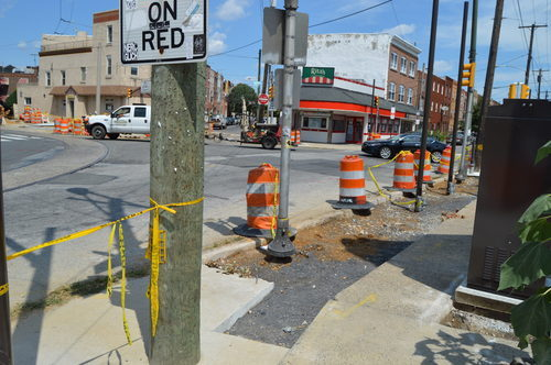Construction on a dangerous East Passyunk intersection in Philadelphia. Photo: Hilly Curbed