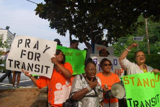 Activists in Clayton County, Georgia, support a ballot measure that would connect the county with the regional transit system. Photo: STAND UP via ##http://saportareport.com/blog/2014/07/as-clayton-commission-gets-a-marta-vote-do-over-spotlight-shines-on-gail-hambrick/##Saporta Report##
