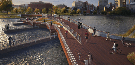The Providence River Pedestrian Bridge will stand where Interstate-195 once did. Image: City of Providence via Greater City Providence [PDF]