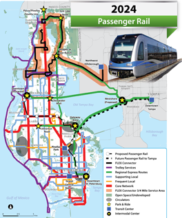 This is what Pinellas County's rail system could look like in 10 years, if it passes Tuesday's ballot referendum. Image: ##http://greenlightpinellas.com/about/view-the-maps##Greenlight Pinellas##