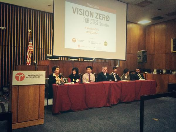 Families for Safe Streets founding member Ellen Foote moderates a panel on organizing for Vision Zero in New York. Photo courtesy of TA