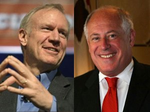 Republican Bruce Rauner, left, is challenging Illinois Gov. Pat Quinn, right.