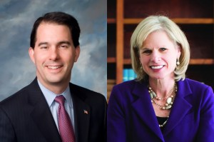 Wisconsin Gov. Scott Walker, left, and Democratic challenger Mary Burke, right.