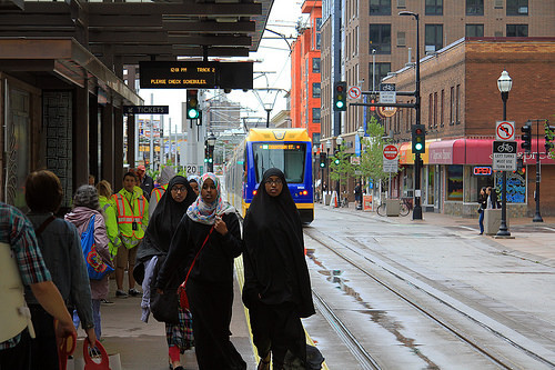 Minnapolis' Washington Avenue is thriving after the addition of light rail and bike facilities. Photo: Greater Greater Washington