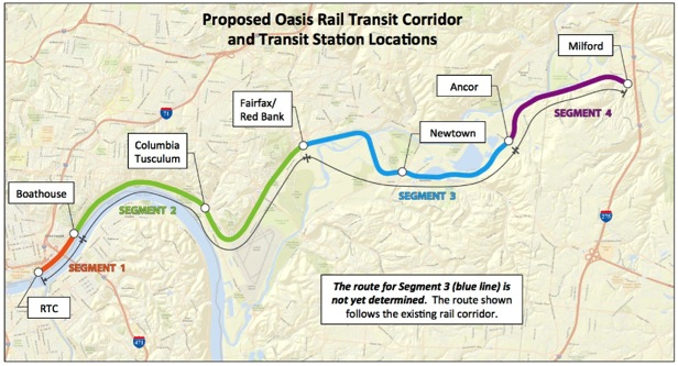 "The proposal for ""Oasis"" commuter rail along the highway would serve small villages and scarcely populated areas. Image: Easterncorridor.org"