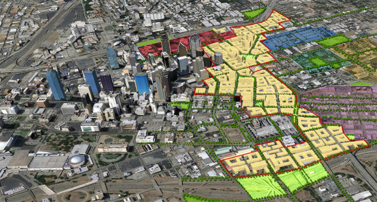 Tearing down I-345 would open up 240 acres of prime urban land for development. Image: A New Dallas