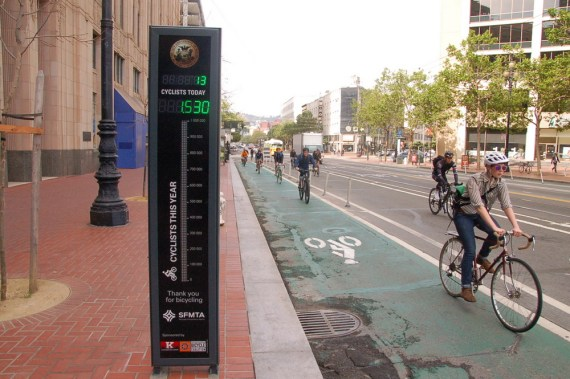 This bike counter in San Francisco gives planners reliable, up-to-date data about biking rates. Photo: Aaron Bialick/Streetsblog SF
