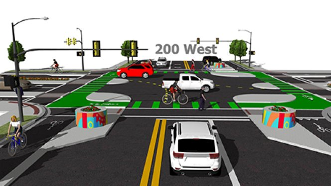 Salt Lake City has plans to install the first protected intersection for cyclists. Image: Salt Lake City via KSL.com