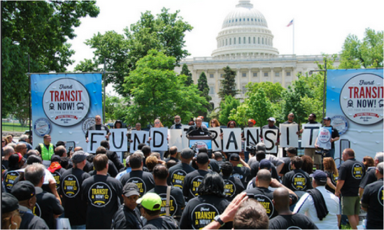 The Amalgamated Transit Union wants more protections for transit in the multi-year transportation bill. Photo: ##http://www.atu.org/media/multimedia/photos/national-transit-action-rally##ATU##