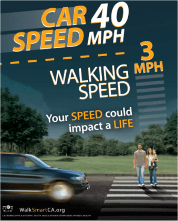 This California PSA puts the responsibility where it belongs: with the driver going 40, not the family walking 3 mph.