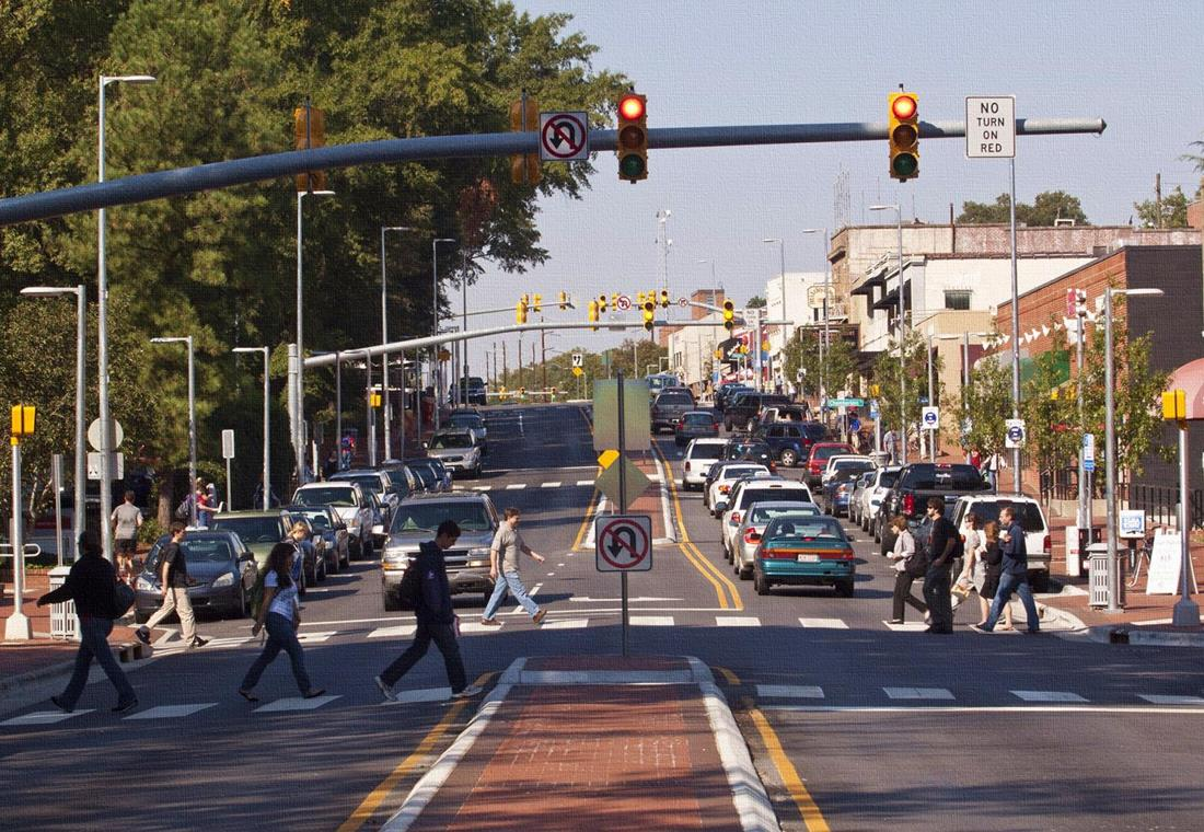 Raleigh's highly praised Hillsborough Street road diet would have been illegal under legislation proposed by state lawmakers. Image: NC DOT
