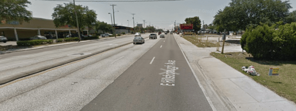 Twenty-one bicyclists and pedestrians were struck by cars on just an 8-block stretch of Tampa's Hillsborough Avenue over a four-year period, including two 15-year-old high-school girls who were killed in two separate incidents. But NHTSA won't be issuing any fines and there won't be a class action suit against the road designer. Image: Google Maps