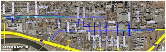 Oklahoma City advocates, with help from FHWA, were able to force the state to consider restoring the street grid as an alternative to replacing I-40. But the state ultimately rejected this alternative. Image: ODOT