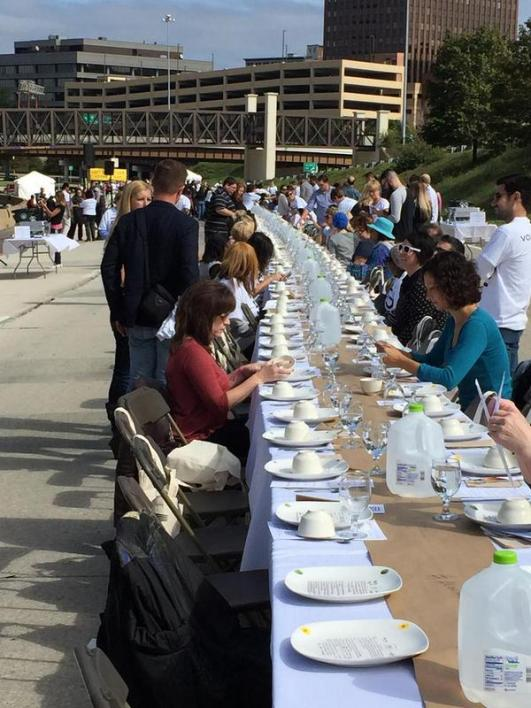 """500 Plates"" brought together people from all over Akron to have a meal together on the to-be-closed ""Innerbelt Freeway."" Photo: Jason Segedy"
