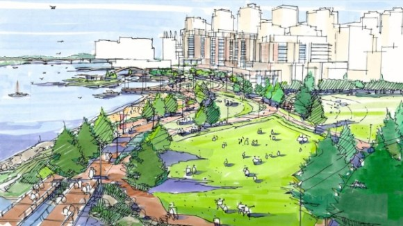 An artist rendering of what the space now occupied by viaducts will look like. Image: City of Vancouver via CBC
