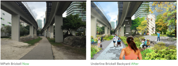 "Miami's ""Underline"" proposes making the derelict space under Miami's Metrorail into a ""10-mile linear park."" Image: Theunderline.org"