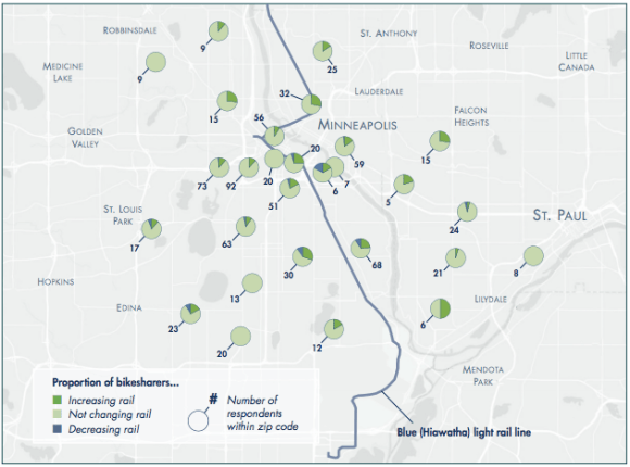 In Minneapolis-St. Paul, where transit connections were more scattered, people used bike share to reach the train. Map: Access Magazine