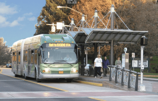 """Bus rapid transit can spur private investment in cities, but it needs to have features that help make it """"fixed,"""" like dedicated lanes and level boarding platforms. Image: University of Arizona"""