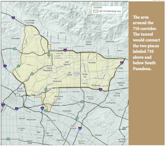 This pair of highway tunnels linking I-710 from Alhambra to I-210/ SR-710 in Pasadena will cost between $3.2 billion to $5.6 billion. Map: Caltrans