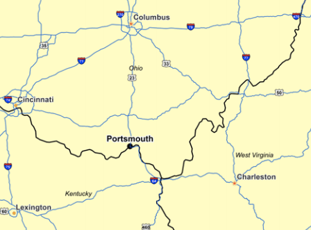 Portsmouth, an Appalachian city of about 20,000, is in line for a $1.2 billion creatively funded bypass from the state of Ohio. Map: U.S. PIRG