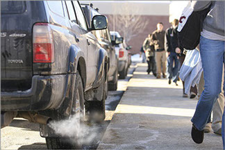Idling near schools can trigger asthma attacks -- a leading cause of childhood mortality. So why is it considered so acceptable? Photo: IdleFreeVermont